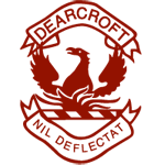 Dearcroft logo - a red phoenix with motto: Nil Deflectat