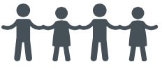 silhouette of two people in a paper people chain, connected to each other and to others