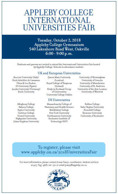 Appleby College International Universities Fair